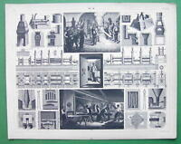 IRON MANUFACTURING Furnaces Rollers - 1844 SUPERB Antique Print