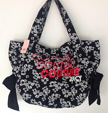 NWT Juicy Couture New Genuine Black Canvas Tote Beach Bag With Embroidered Logo