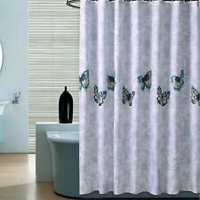 LUXURY FABRIC BATHROOM SHOWER CURTAIN WITH HOOKS RINGS SETS WATERPROOF WASHABLE