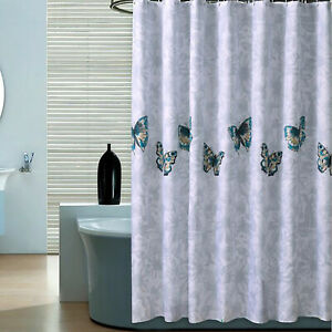 Waterproof Fabric Bathroom Shower Curtain Butterfly Print Curtain with Hooks