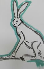 JOSE TRUJILLO Large Acrylic Painting New Art Original 26x40 Blue Rabbit Wildlife