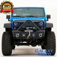 Stinger Stubby Rock Crawler Front Bumper+Winch Plate for 07-18 Jeep JK Wrangler