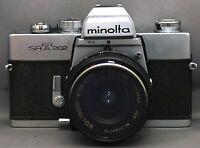 MINOLTA srT202 35mm VINTAGE SLR Film Camera SOLIGOR MD f/2.5 28mm Lens JAPAN