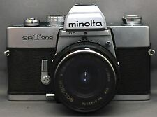 MINOLTA srT202 35mm VINTAGE SLR Film Camera SOLIGOR MD f/2.5 28mm Lens JAPAN