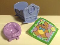 LOVING FAMILY BABY LOT DOLLHOUSE NURSERY FURNITURE CRADLE BLANKET FISHER PRICE
