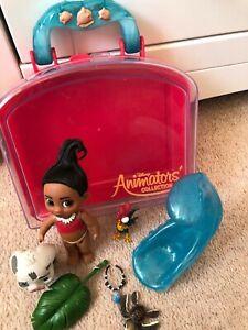 Disney Store Animators Collection Mini Doll Moana, Wave, Turtle, Leaf, Hei Hei