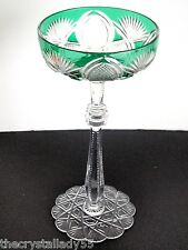 1 Faberge Czar Emerald Green Cased Cut To Clear Saucer Champagne Signed