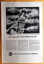 "Vintage Magazine Print Ad 1948 RCA Radio Corporation of America ""magic lamp"""
