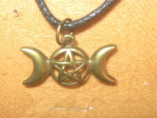 GOLD BRONZE PENTACLE PENTAGRAM WICCAN TRIPLE MOON GODDESS PENDANT CHARM NECKLACE