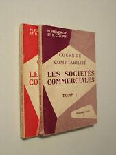 Cours de comptabilité Les sociétés commerciales Reverdy & Court Tome I & II 1959