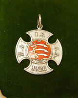 Vintage UK Hallmarked Sterling Silver 1928 Enamel Athletic Award Medal 12j 18