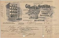 Gillette & Hennigan 1901 Wholesale Fruit Merchants Illustrated Receipt Ref 32959