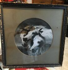 Vintage Print: Pharoahs Horses from original painting by Herring framed matted