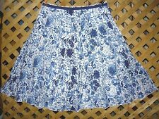 Dressbarn Long White & Cobalt Blue Floral Cotton A-Line Skirt Size 16 NEW!