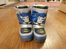 Batman Winter Boots Toddler size 6 Light-up Black Blue Yellow Silver trim CUTE!