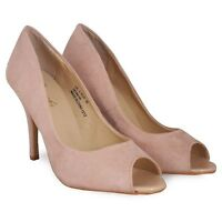 NEW EX STORE LADIES FAUX SUEDE NUDE PEEPTOE PARTY HIGH HEELS SHOES SIZES 4 5 6 7