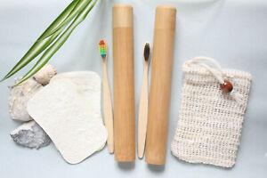 Eco Bathroom Set for 2 Bamboo ToothBrush + Case Soap Saver Bag & Loofah Sponge