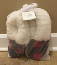 NEW Pottery Barn SMALL Sherpa Faux Fur Cozy Booties RED PLAID **Small Issue**