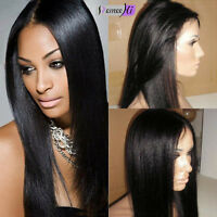 """100% Indian Remy Human Hair 8""""-24"""" full/front lace wig Yaki Straight 1#jet black"""