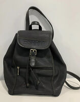 Vintage ESPRIT Women's Faux Leather Backpack Book Bag Black