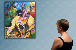 """47""""  DON QUIXOTE   _____  ORIGINAL cubist painting oil on canvas by ANNA !!!!!!!"""