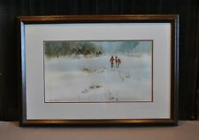 Watercolor Painting - Indian with Horse Teepee Camp in Winter Snow - James Darum