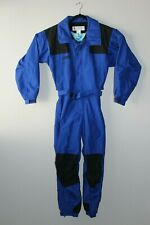 Vtg 90s Columbia Mens Small Full Body Snowsuit Black Blue Nylon One Piece Ski