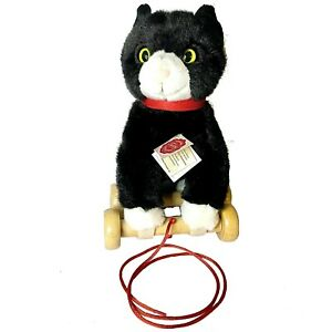 Hermann Teddy Collection Black & White Kitty Cat W/Green Eyes Pull Toy