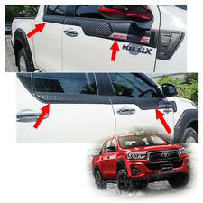 Side Upper Molding Window Sill Matte Black Fits Toyota Hilux Revo Rocco 2018 19