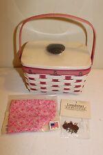 2012 Longaberger Breast Cancer Pink Week Little Market Basket Set - New