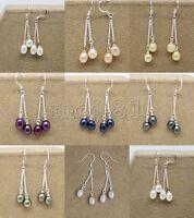 Genuine 6-7mm Natural Freshwater Pearl 925 Sterling Silver Hook Dangle Earrings