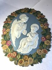 vtg Holy Picture Plaque VIRGIN MARY & JESUS PLASTIC WALL HANGING Nativity Flower