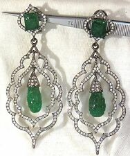 29.50ct NATURAL CARVED EMERALDS DIAMONDS DANGLING EARRINGS LARGE SIZE+