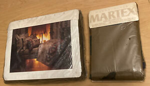 """NEW Perry Ellis Martex Cali-King Fitted SHEET  """"Derby"""" Horses (2) Pillowcases"""