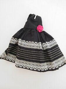 """Vintage Black Taffeta Dress for 10"""" Fashion Doll"""