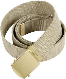 Khaki Military Cotton Web Belt with Gold Buckle