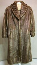VINTAGE OLYMPIA LIGHT GOLDEN BROWN STRIPED FAUX FUR FULL LENGTH COAT M USA