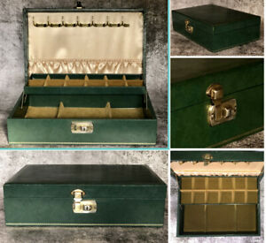 Vintage Mele Mid Century Modern Green Leather Jewellery Box Canter Lever Tray