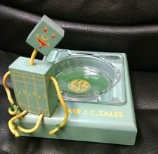 "Vintage General Electric Advertising ""Mr. I. C. Sales"" Robot Ashtray, Wood RARE!"