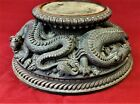 Unique Gujarat Wood Pedestal Carved w/  Figural Mythical Reptile BURU