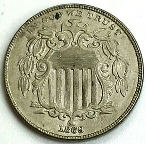 1869 UNITED STATES 5 CENT SHIELD NICKEL 5c COIN ABOUT UNCIRCULATED CONDITION