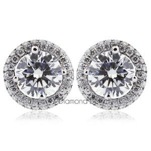 1.47 CT H-SI2 Round Earth Mined Certified Diamonds 18K Gold Halo Accent Earrings