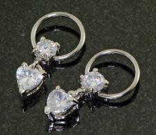 "Pair 16g 3/8"" Heart Prong Set CZ Dangles Captive Ring Earring Nipple Rings"