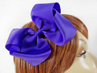 PURPLE LARGE RIBBON BOW BARRETT HAIR CLIP FOR THE RED HAT LADY OF THE SOCIETY