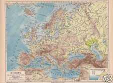 EUROPA Flüsse Gebirge physikalische LANDKARTE 1874