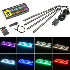 4X RGB LED Auto Innenraumbeleuchtung Fußraumbeleuchtung Ambientebeleuchtung 12V