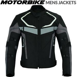 Grey Motorbike Motorcycle Jacket Waterproof Textile Biker Armoured CE Cordura