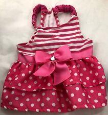 Pink Striped Polka-Dot Empire Waist Dog Dress XS Pet Bond & Co Puppy XSM XSmall