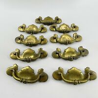 VTG Set of 9 Brass Chippendale Drop Bail Bat Wing Drawer Pulls Handles 5 1/2""