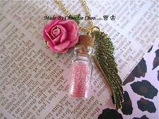 Pink Glitter Glass Bottle Rose Bronze Wing Charm Necklace Chain Choochie Choo